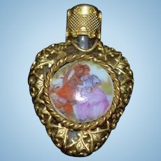 Vintage Miniature Doll Perfume Bottle Hear Shape Glass & Porcelain Scene Ornate