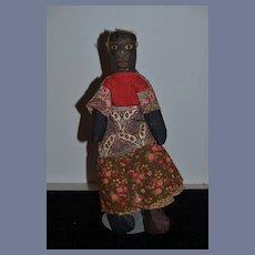Wonderful Old Black Cloth Doll Folk Art Painted Features Unusual