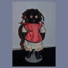 Old Doll Black Cloth Doll Unusual Character Doll Rag Doll Folk Art Velvet and Satin