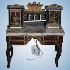 Antique Doll Waltershaunsen  Miniature Ladies Desk Dollhouse Marble Top Fancy