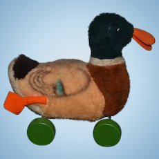 Vintage Steiff Duck on Wood Wheels Pull Toy For Doll W/ Tag & Button