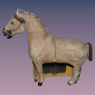 Antique Horse Toy For Doll Wood & Leather Hide Carved