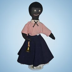 Old Cloth Doll Black Doll Rag Doll Sewn Features Stockinette