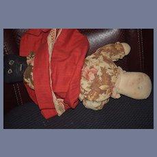 Old Cloth Doll Rag Doll Topsy Turvy Black Doll White Doll Wonderful!
