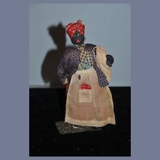 Old Doll Cloth Doll Rag Doll Black Doll Lady Carrying Bag Sewn Features