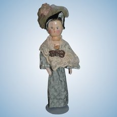 Antique Doll Wood Carved Jointed Pegged Painted Features