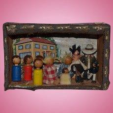 Old Doll Diorama Wood Dolls Miniature Dollhouse