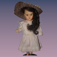 Antique Doll Bisque Oriental Cabinet Size Darling Dressed!!