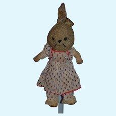 Wonderful Old Cloth Bunny Rabbit Stuffed Animal Doll Friend Musical Oil Cloth Rag Doll Wind Up