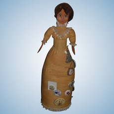 Unusual Doll Wooden Spoon Doll Cloth Body W/ Pinbacks Betty Curtis and More Brooch W/ Doll