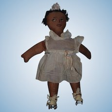 Old Doll Black Cloth Doll Rag Doll Button Eyes SWEET W/ Roller Skates