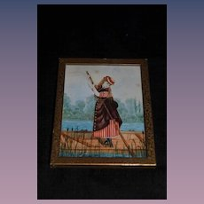 Antique Miniature Painting Lady in Boat Watercolor Water Color Fashion Lady