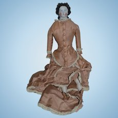Antique Doll China Head Conta & Boehme Fancy Hair Style W/ Corset & Dressed
