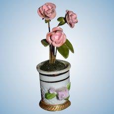 Vintage Doll Miniature Flower Pot Enamel Flowers in Porcelain Vase or urn for Dollhouse
