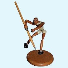 German Doll Wood Jointed Sportsman Character Unusual Javelin miniature