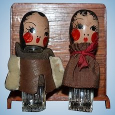 Old Figural Doll Perfume Bottle Set Miniature Glass and Wood