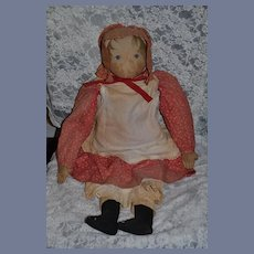 """Old Doll Cloth Doll Rag Doll Babyland Rag Doll W/ Provenance Early Doll Dressed 30"""" Tall"""