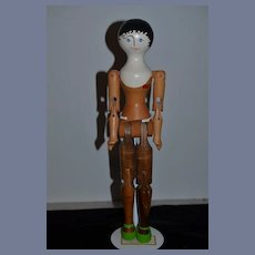 """Wonderful Doll Large Artist Wood Jointed Signed  18"""" Tall"""