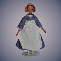 Vintage Doll Wood Alice Wainwright Doll Carved Fancy Hair Style Artist