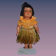 Antique Doll Bisque Cabinet Size Island Girl W/ Grass Skirt Hanna