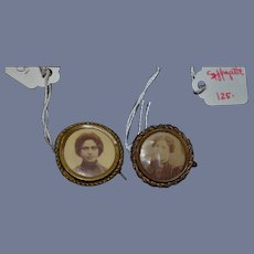Old Miniature Tin Type Portrait Picture Set Brooch Dollhouse