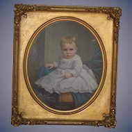 Antique Painting Child Portrait WONDERFUL LARGE Gilt Frame Ornate 1800's