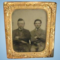 Antique Miniature Tin Type Gold Frame Two Men in Suits Ornate Doll House Photograph