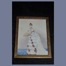 Antique Miniature Painting Bride W/ Fan Bronze Frame Fancy For Doll Room