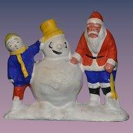 Vintage Doll Santa Claus Snowman Papier Mache Figurine