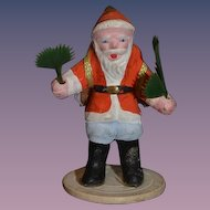 Old Doll Miniature Santa Claus Papier Mache Figurine