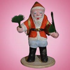 Old Doll Miniature Santa Claus Papier Mache Figurine