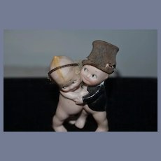 Vintage Doll Set Kewpie Rose O'Neill Bride and Groom W/ Paper Hat