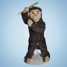 Old Mechanical Wind Up Toy Monkey Combing Hair Doll Toy Schuco ?