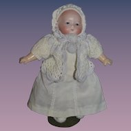 Antique German Herm Hermann Steiner Doll Bisque Baby Glass Eyes Solid Dome