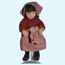 Vintage Doll Artist Doll Cloth Doll Felt Doll Harriet Shoup Jointed 9 1/2 inches tall