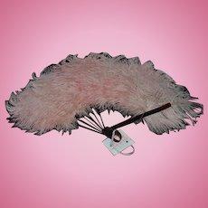 Wonderful Old Doll Fan Feathers Pink Ornate Fashion Doll