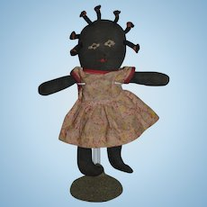 Old Doll Black Cloth Doll Stockinette Sewn Features