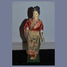 Old Doll Oriental Lady Pierced Ears original Costume Fancy Hair Style