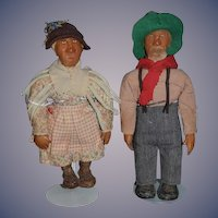 Old Doll Set Wax Artist Margaret Strain Mammy & Uncle Poke Folk Art