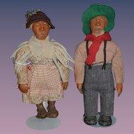 Old Doll Set Wax Artist Margaret Strain Mammy & Uncle Poke Folk Art
