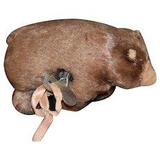 Old Mechanical Teddy Bear Wind Up Walker Miniature Doll Friend
