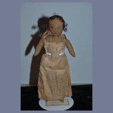 Old Cloth Doll Rag Doll Drawn Features Unusual Original Clothes