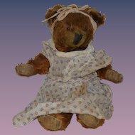 Old Teddy Bear Unusual Face Jointed Mohair Doll Friend