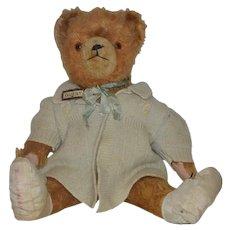 Vintage Teddy Bear Doll Friend... Dressed WONDERFUL Face English?