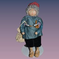Vintage Doll Miniature Cloth Doll Rag Doll Character Doll Unusual