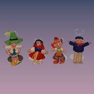 Vintage Cloth French Doll Set FOUR Dolls Character Felt Doll