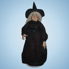 WonderfulDoll Faith Wick Original Signed Numbered #59 OLD Tag From Thalhimer's Department Store Wicked Witch Porcelain