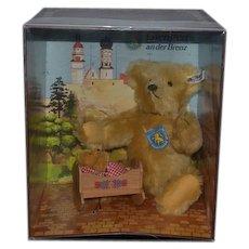 Teddy Bear Margarete Steiff Jointed Mohair MINT IN BOX Teddy Bear w/ Baby in Rocking Cradle Giengen-Teddy Bear-Set