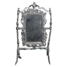 Old Doll Miniature Soft Ornate Metal Swivel Mirror on Stand Dollhouse