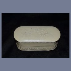 Antique Celluloid Ornate Vanity Box W/ Design For French Fashion